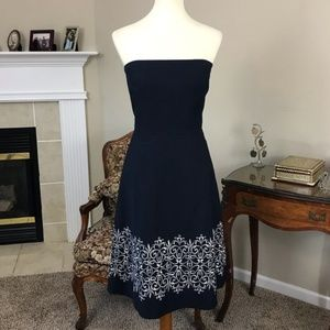 LOFT Strapless Embroidered Cocktail Dress Size 12